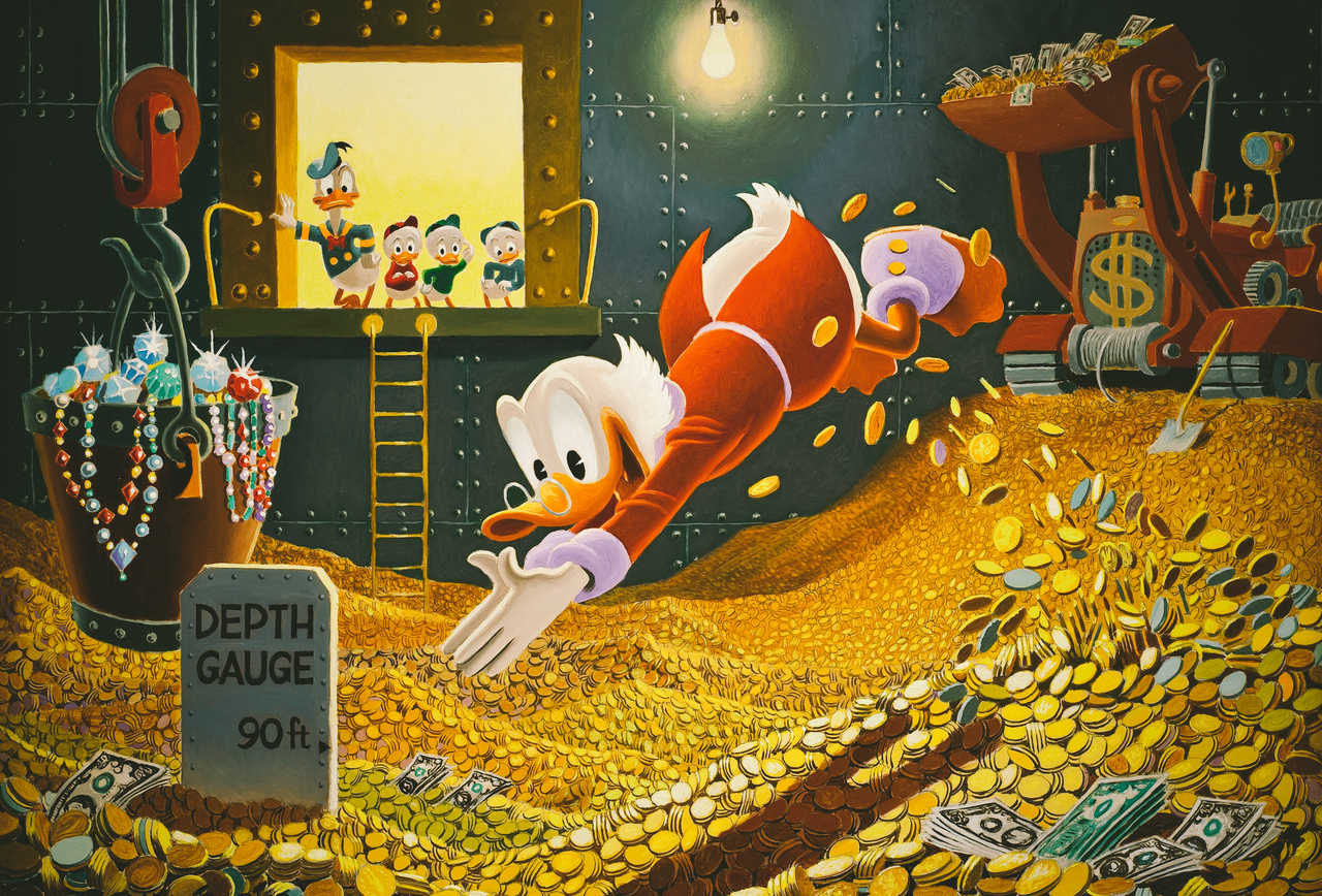 Uncle Scrooge diving in a his vault of gold coins.